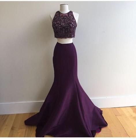 546ade66a0fb dark purple two pieces beaded top mermaid long prom dress, PD757