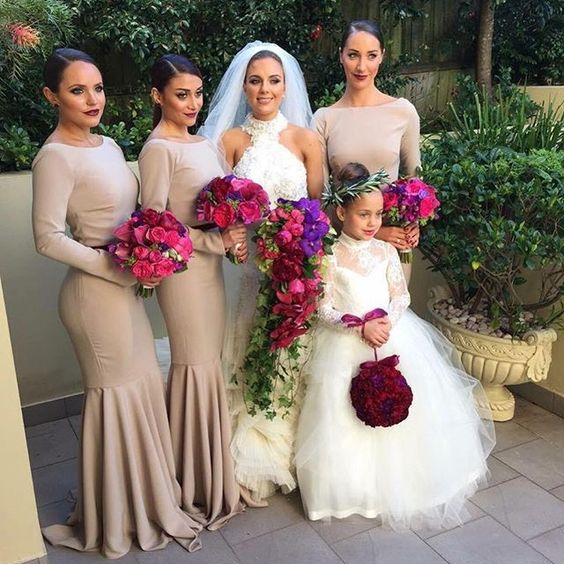 modest round neck long sleeves mermaid long bridesmaid dresses,PD7570