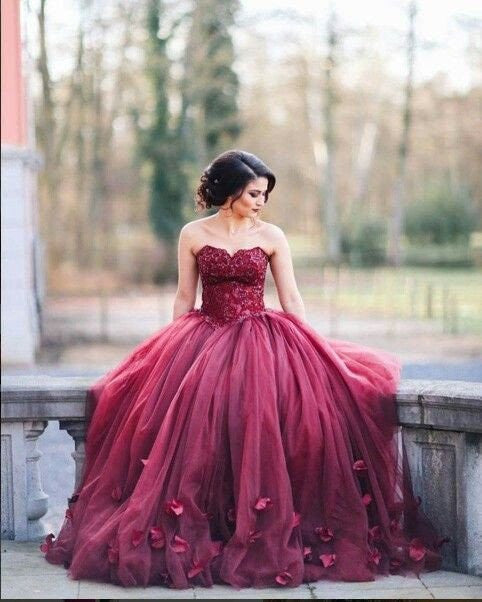A-line charming long puffy burgundy prom dress, BD501