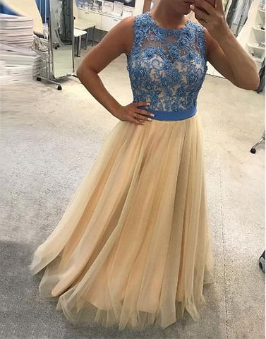 A-line tulle formal round neck 2017 long prom dress, PD3324