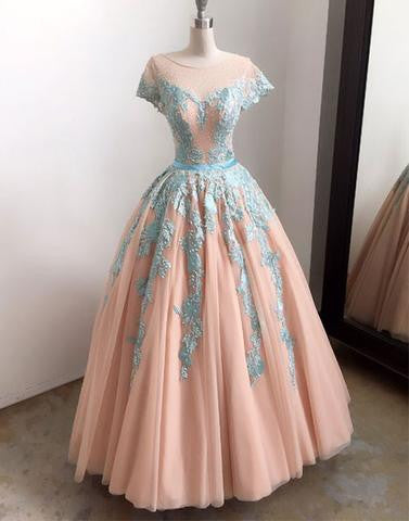 A-line cap sleeves scoop tulle long prom dress with lace appliques, PD6848