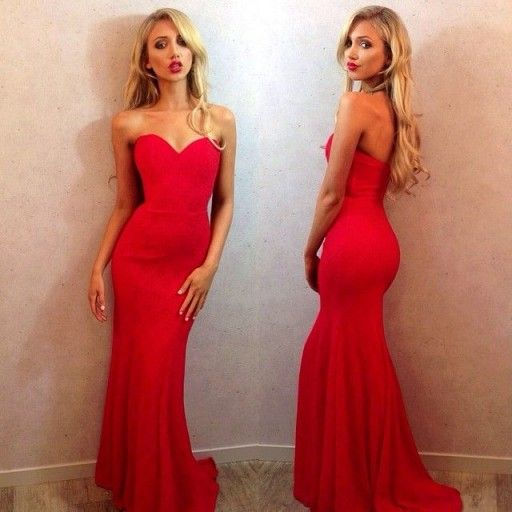 formal sweetheart mermaid red long evening dress, PD5486