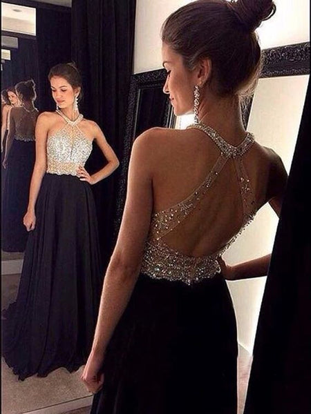 black prom dress, long prom dress, beaded prom dress, charming evening dress, 2017 prom dress, BD406