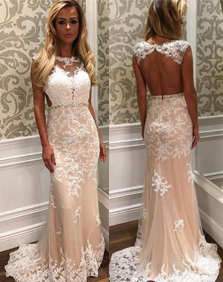 lace prom dress, long prom Dress, 2017 prom dress, open back prom dress, charming prom dress, BD467