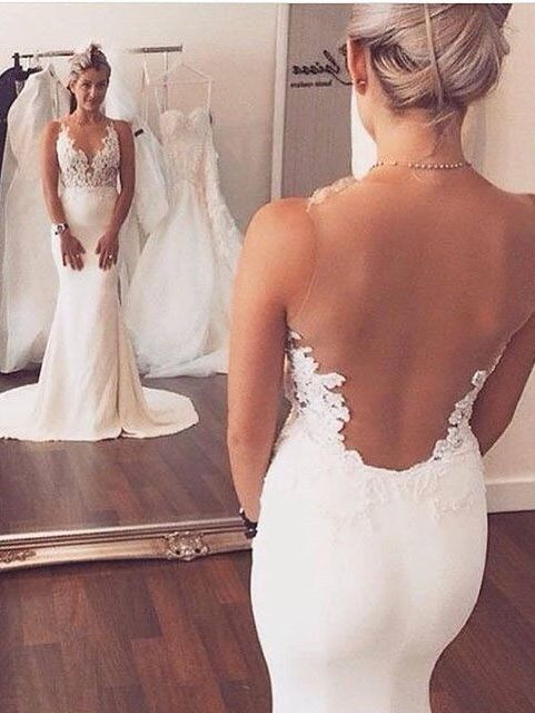 elegant simple white open back long wedding dress, WD280