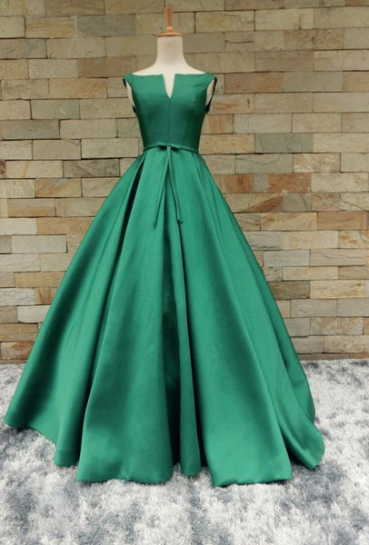 hunter green satin A-line formal elegant long prom dress, PD11146