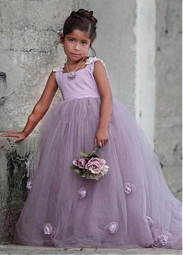 Attractive Tulle Square Neckline Ball Gown Flower Girl Dresses With Handmade Flowers, FW03
