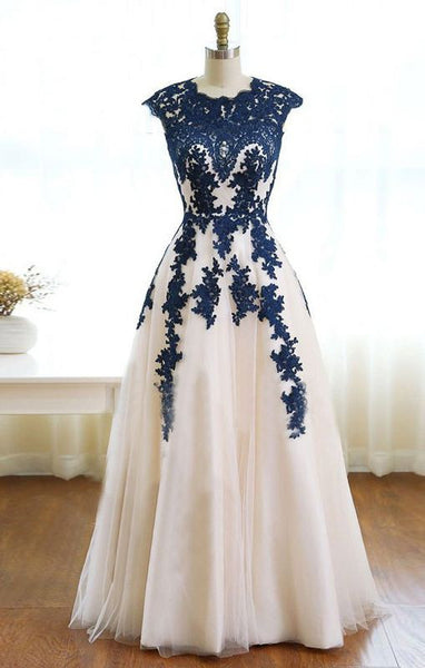 lace applique prom dress, long prom dress, A-line prom dress, tulle evening dress, A-line prom dress, BD414