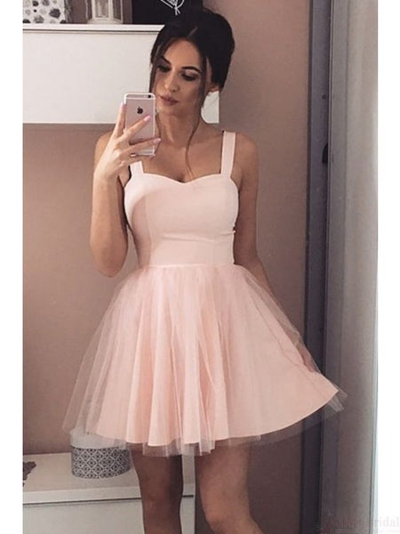 light pink two straps A-line short homecoming dress, HD489