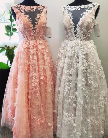 2017 charming appliques tulle scoop A-line long prom dress, PD3325