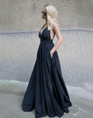 black long v-neck satin formal 2017 A-line prom dress, PD3440