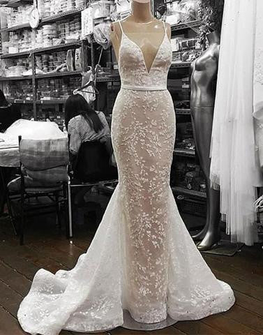 elegant formal mermaid lace white long prom dress, PD5576