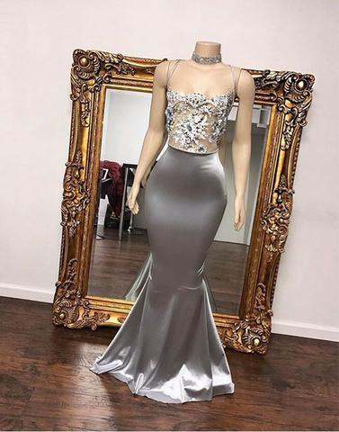 charming formal mermaid sliver beaded long evening dress, PD3325