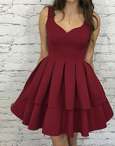 simple A-line satin burgundy short homecoming dress, HD7787