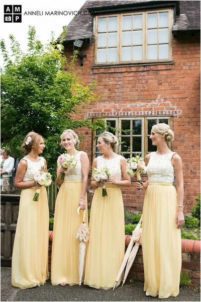 Modest Bridesmaid Dress,yellow Bridesmaid Dress,long Bridesmaid Dress,Cheap Bridesmaid dress ,PD504