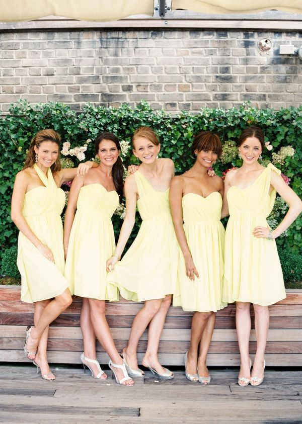 short mismatched light yellow cheap chiffon Bridesmaid Dresses, BD3212