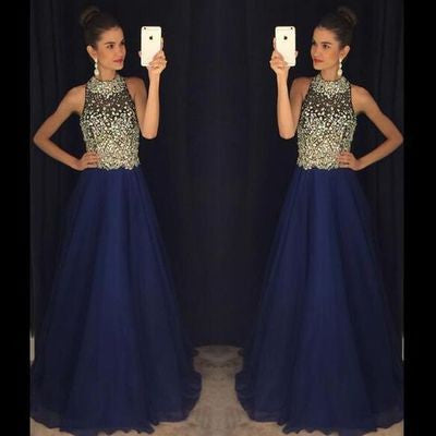 navy blue prom dress, long prom dress, beaded prom dress, charming evening dress, luxury prom dress, BD411