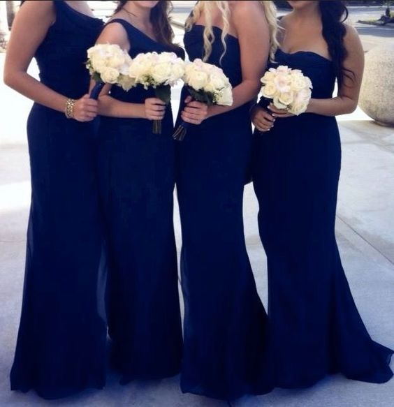 mismatched navy mermaid formal long Bridesmaid dress, BD454