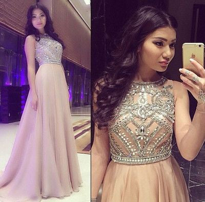 beaded prom dress, long prom dress, o neck prom gown, charming prom dress, 2017 evening dress, BD61