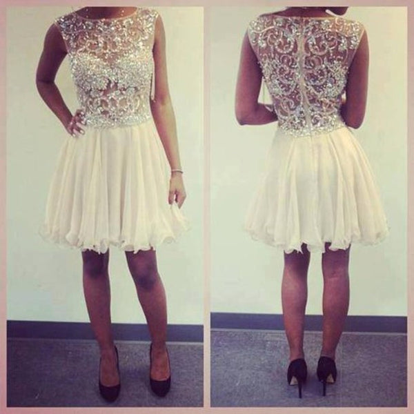 beaded ivory short homecoming dress, HD154
