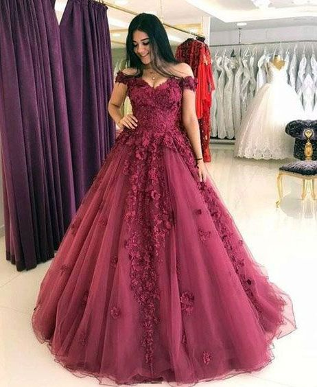 formal charming burgundy A-line off shoulder long prom dress, PD555