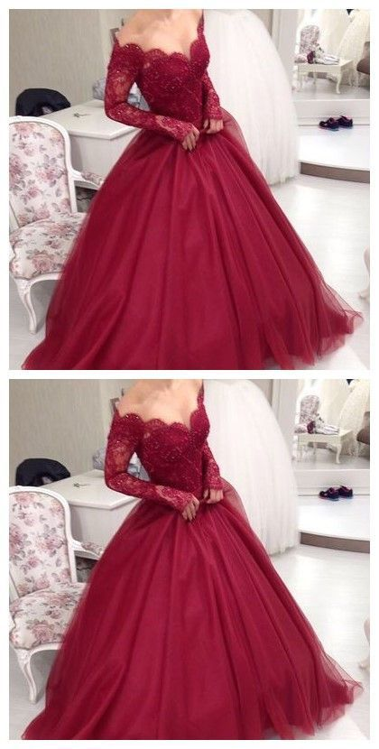 off shoulder long sleeves A-line burgundy lace long prom dress, PD7690