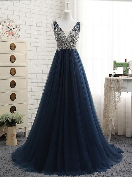 beaded v-neck dark blue tulle long prom dress, PD1899