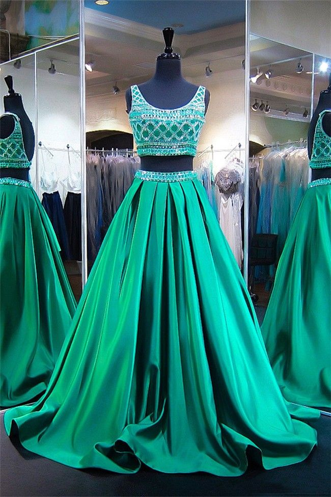 formal A-line two pieces beaded top green long prom dress, PD8860