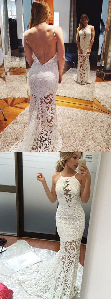 white lace long backless long prom dress, PD7549
