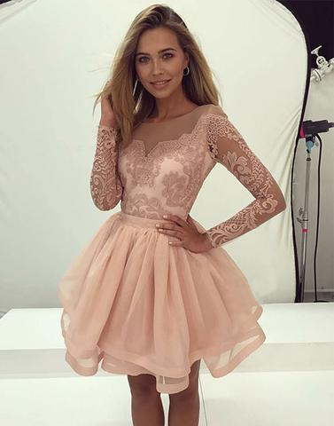 e554d541e8 2017 blush pink long sleeves A-line short homecoming dress