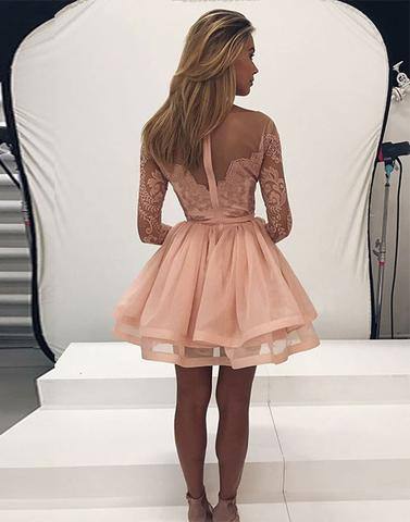 2017 blush pink long sleeves A-line short homecoming dress, HD491