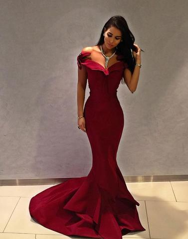 formal off shoulder mermaid burgundy long prom dress, PD87417