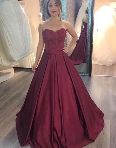 2018 A-line sweetheart burgundy long prom dress, PD5785