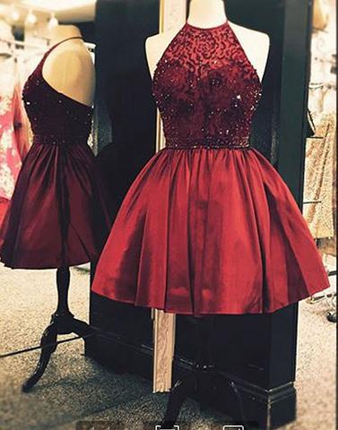 burgundy beaded halter A-line short homecoming dress, HD845