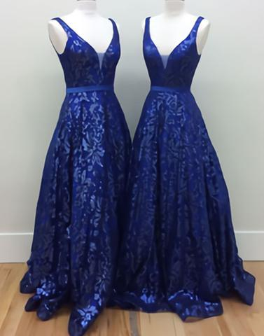 2017 A-line royal blue lace v-neck long prom dress, PD5873
