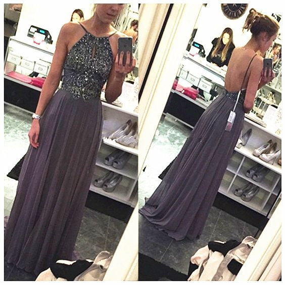 gray prom dress, long prom dress, chiffon prom dress, charming prom dress, backless evening dress, BD62