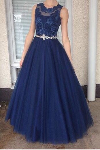 navy prom dress, long prom dress, A-line prom dress, tulle prom dress, evening gown 2017, BD483