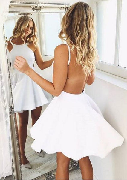 simple white backless spaghetti straps A-line short homecoming dress, HD493