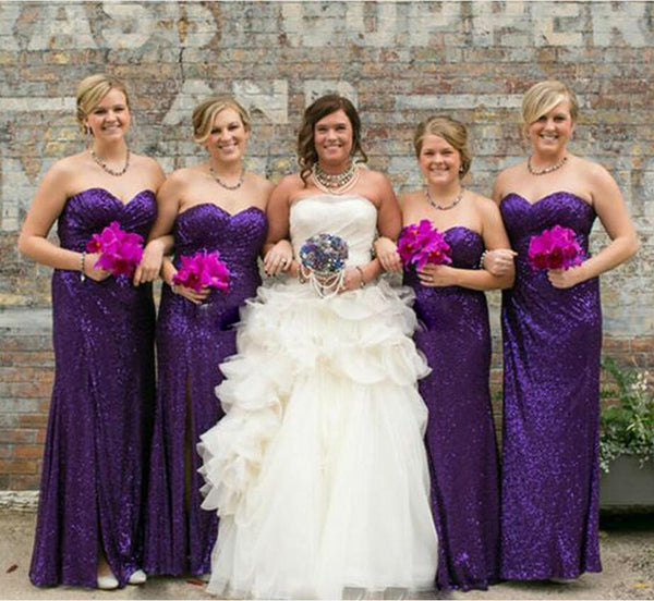Floor-Length Bridesmaid Dresses,purple bridesmaid dress,sequin bridesmaid dress,sweetheart bridesmaid dress,BD2005