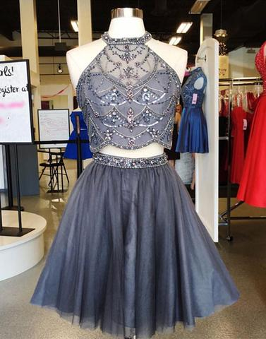 two pieces halter grey tulle beaded A-line short homecoming dress, HD4548
