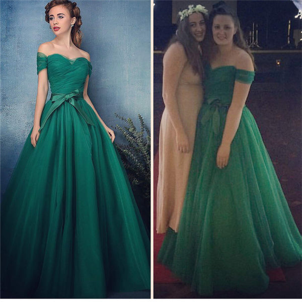 2017 off shoulder A-line green tulle long prom dress, PD5711