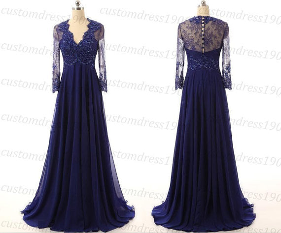 modest prom dress, long prom dress, v-neck prom dress, lace prom dress, cheap bridesmaid dress, BD390