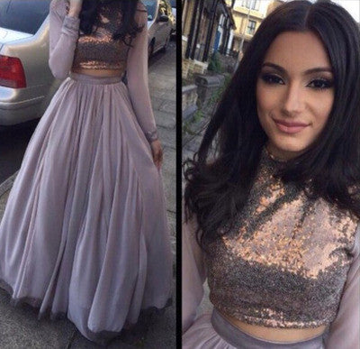 a-line prom dress, long prom dress, two pieces prom dress, long sleeves prom dress, high neck prom dress, BD536