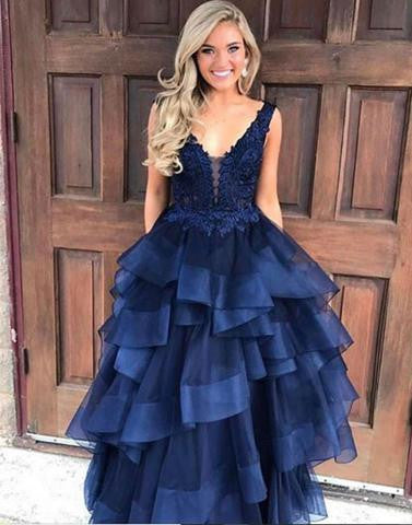 2017 A-line v-neck navy blue long prom dress, PD7675