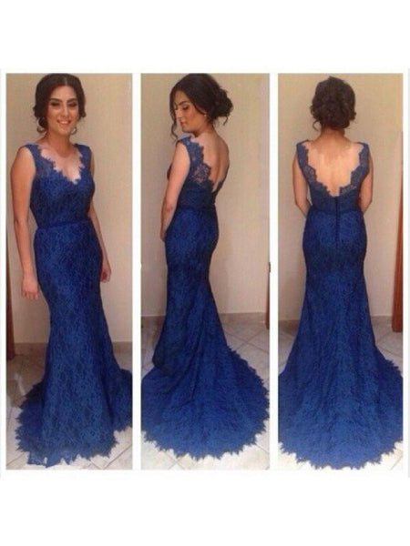 blue prom dress, long prom dress, lace prom dress, mermaid prom dress, charming evening gown 2017, BD112