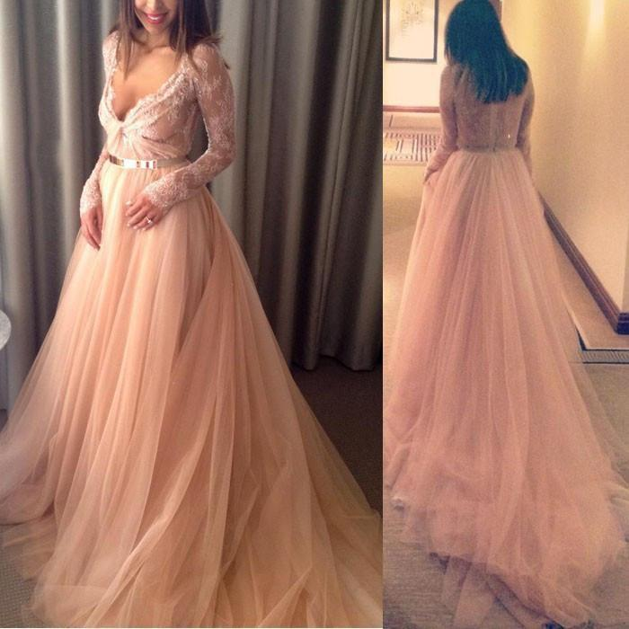 formal charming blush pink v-neck long sleeves A-line long prom dress, PD6527