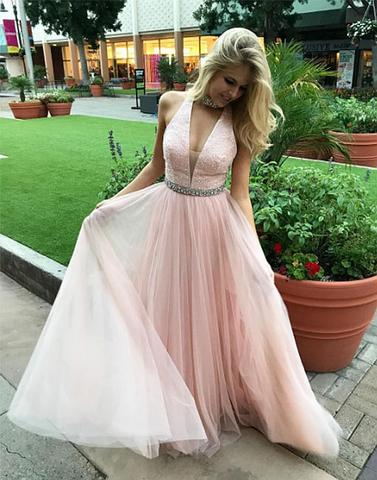 elegant cheap light pink tulle beaded v-neck long prom dress, PD5787