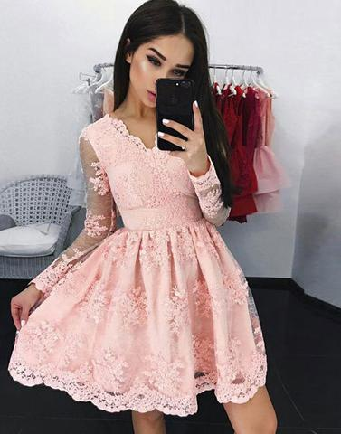 v-neck pink lace long sleeves short homecoming dress, HD984