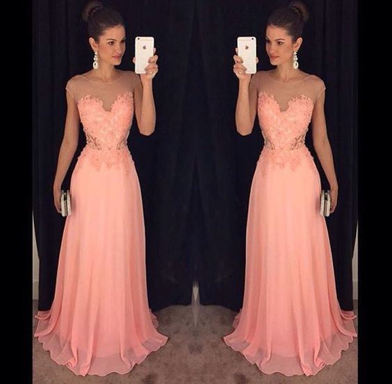 peach lace appliques scoop chiffon long 2017 elegant formal prom dress, PD3014