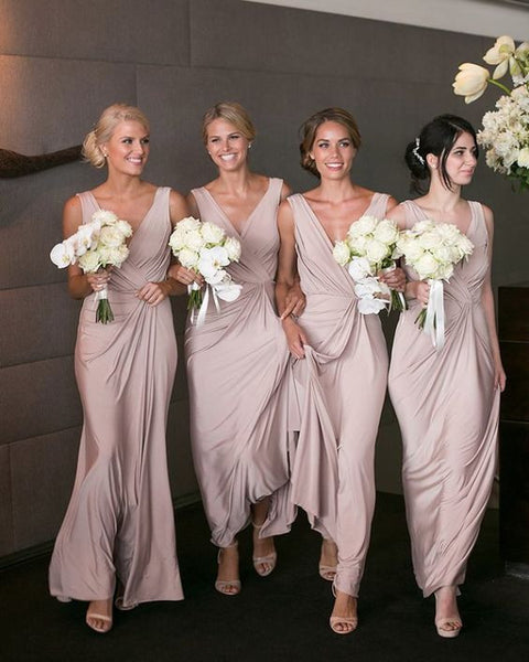 dusty pink chiffon v-neck long Bridesmaid Dresses, PD9802